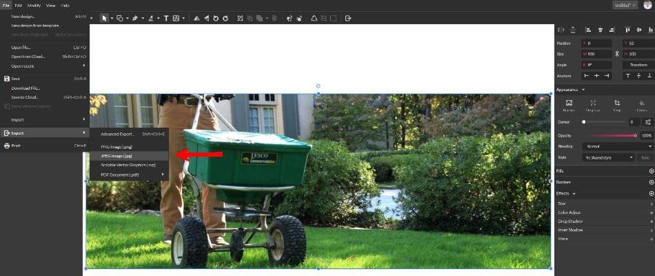 Exporting Jpg Image