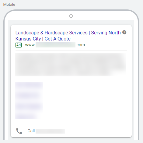 Example of Good Landscaping Search Ad Headlines on Google Ads