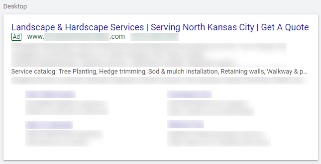 Service Catalog Structured Snippet Example for Landscaping